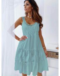 Свободна рокля с дантела в тюркоаз - код 3232