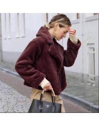 Дамско късо палто в бордо - код 164