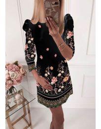 Елегантна рокля с флорални мотиви в черно - код 245