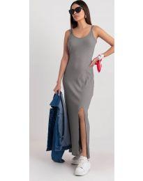 Дълга рокля с цепка в сиво - код 3000