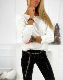 Дамска свободна блуза с щампа в бяло - код 4960