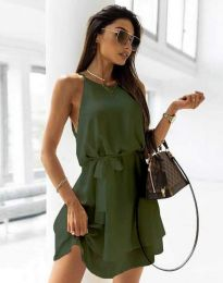 Дамска рокля с колан в масленозелено - код 9968