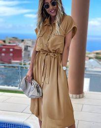 Свободна дамска рокля в цвят капучино - код 6344