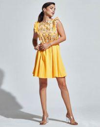 Кокетна рокля в жълто - код 1482