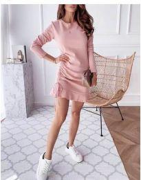 Дамска рокля в цвят пудра - код 832