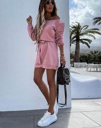 Дамска рокля в цвят пудра - код 2409