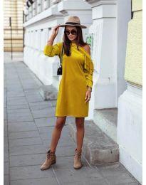 Дамска рокля в цвят горчица - код 8171