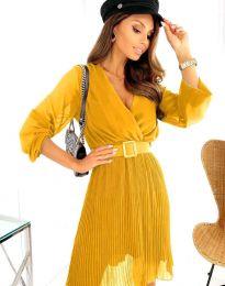 Атрактивна дамска рокля в цвят горчица - код 3497