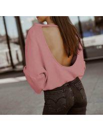 Дамска блуза с ефектен гръб в розово - код 2666
