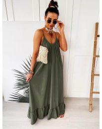 Дълга ефирна рокля в цвят маслено зелено  - код 2218