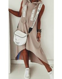 Свободна дамска рокля в кафяво - код 837