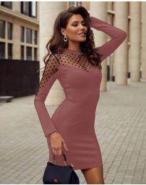 Елегантна рокля по тялото в цвят пудра - код 2484