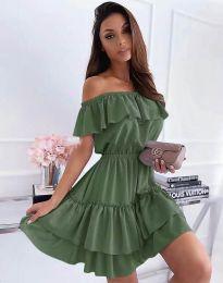 Кокетна къса рокля в масленозелено - код 6777
