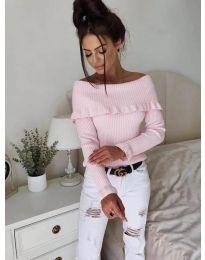 Дамска блуза с лодка деколте в розово - код 7131