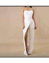 Елегантна рокля с цепка в бяло - код 1146