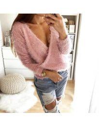 Пухкава блуза с прехлупване в розово - код 174