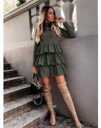 Свободна дамска рокля в маслено зелено - код 2951