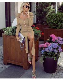 Елегантна рокля в бежово - код 4418