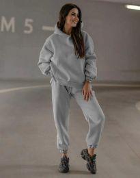 Спортен свободен дамски комплект долнище и суичър с качулка в сиво - код 0827