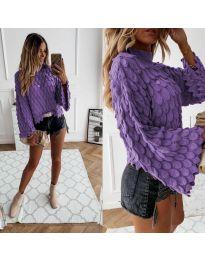 Ефектен дамски пуловер в лилаво - код 8092