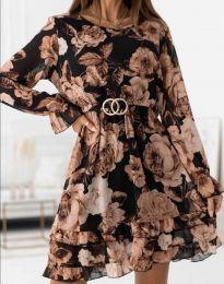 Дамска рокля с флорален десен - код 0946 - 2