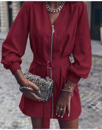 Дамска рокля с цип в бордо - код 820