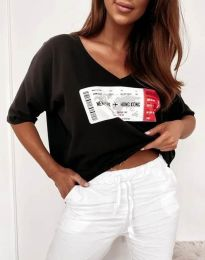 Тениска в черно с ефектен принт - код 7898