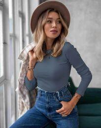 Изчистена дамска блуза в тъмносиньо - код 5930