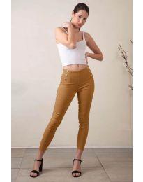 Стилен дамски панталон в кафяво - код 733