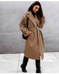 Дамско палто с колан в кафяво - код 410