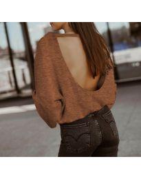 Дамска блуза с ефектен гръб в кафяво - код 2666