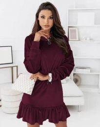 Атрактивна дамска рокля в цвят бордо - код 0424