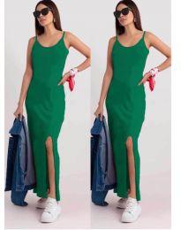 Дълга рокля с цепка в зелено - код 3000