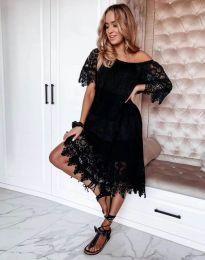 Дамска рокля с дантела в черно - код 6979
