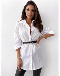 Дамска риза в бяло - код 5459