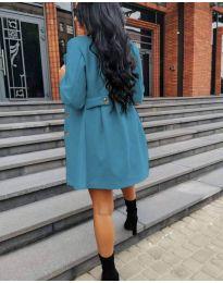 Дамско палто в цвят тюркоаз - код 6977