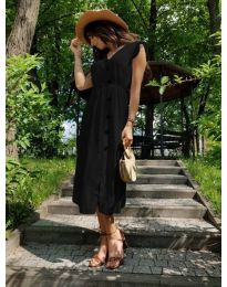 Дълга черна рокля с колан и копчета - код 669