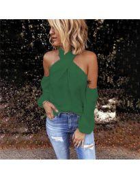 Стилна блуза с ефектни ръкави в зелено - код 6568