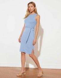 Дамска рокля с колан в светлосиньо - код 12950