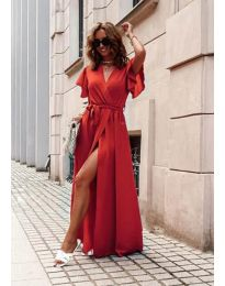 Ефирна дълга рокля с цепка в червено - код 666