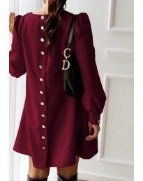 Свободна изчистена дамска рокля в цвят бордо - код 915