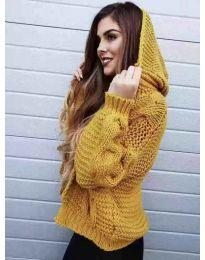 Дамска плетена жилетка в цвят горчица с качулка - код 370