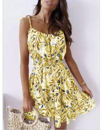 Лятна рокля с флорални мотиви в жълто - код 1414