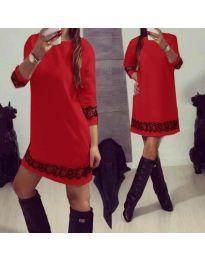 Червена дамска рокля със 7/8 ръкави и дантела - код 345