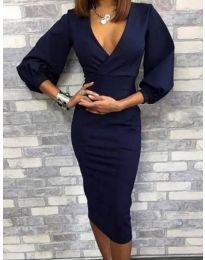 Дамска рокля в тъмносиньо - код 4526