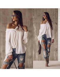 Дамска риза в бяло дълга - код 2300