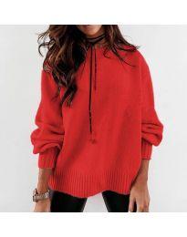 Дамски пуловер в червено - код 3345