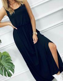 Дълга дамска рокля в тъмносиньо - код 7466