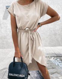 Дамска рокля в бежово - код 2074
