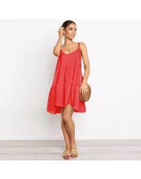 Лятна рокля с тънки презрамки в червено - код 222